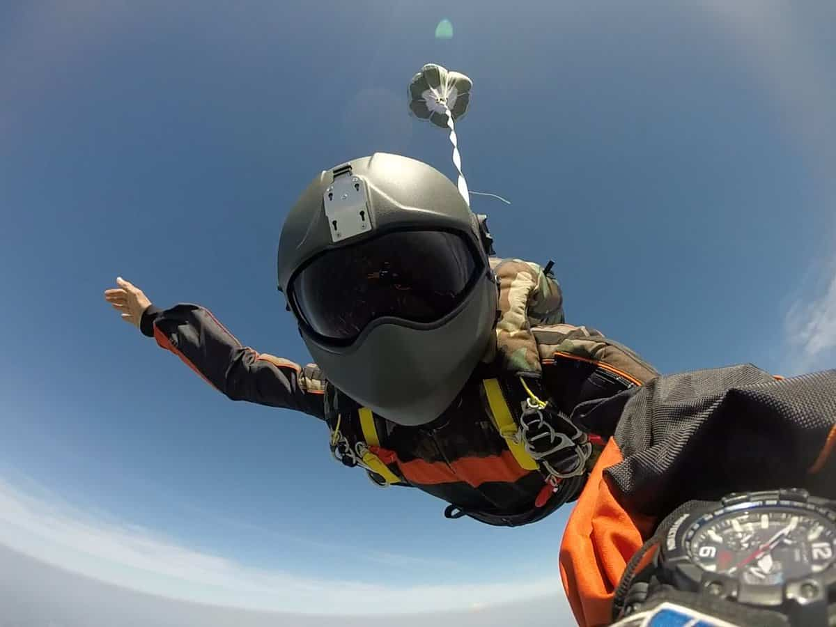 free fall with H-CMB flight helmet
