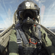 jet fighter pilot with H-CMF flight helmet