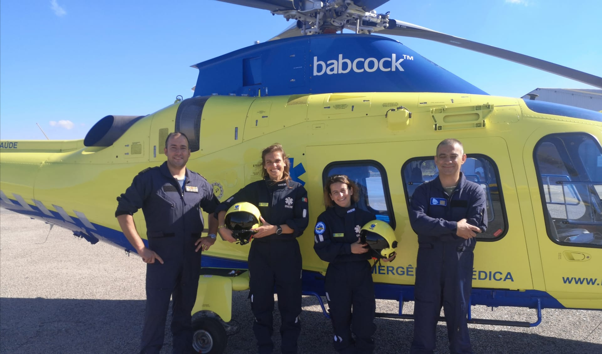 helicopter team with new flight helmet